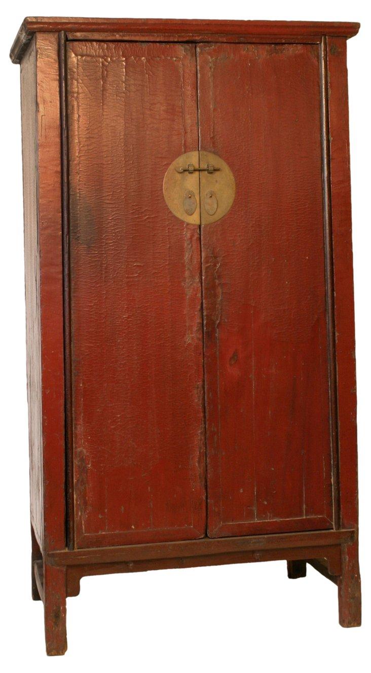 Antiqued Elmwood Cabinet, Red
