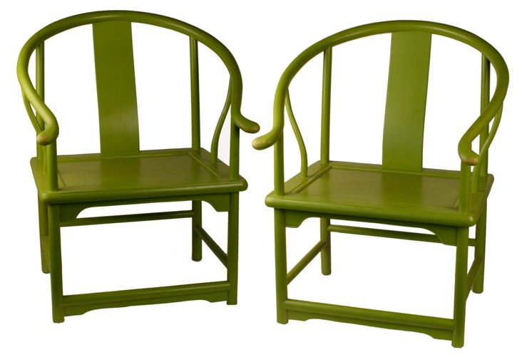 Chartreuse Horse Shoe Chairs, Pair