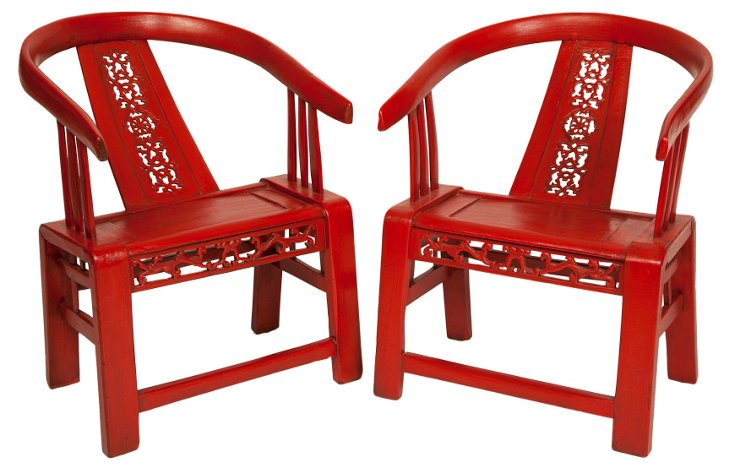 Red Elmood Horse Shoe Chairs, Pair