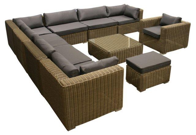 10-Pc Amalfi Sofa, Gray