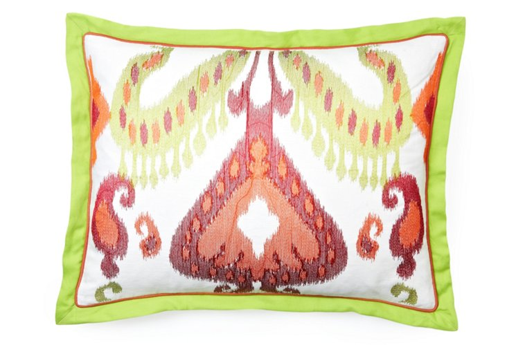 Embroidered Ikat 20x26 Pillow, Multi