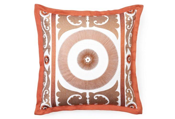 Embroidered Suzani 20x20 Pillow, Copper
