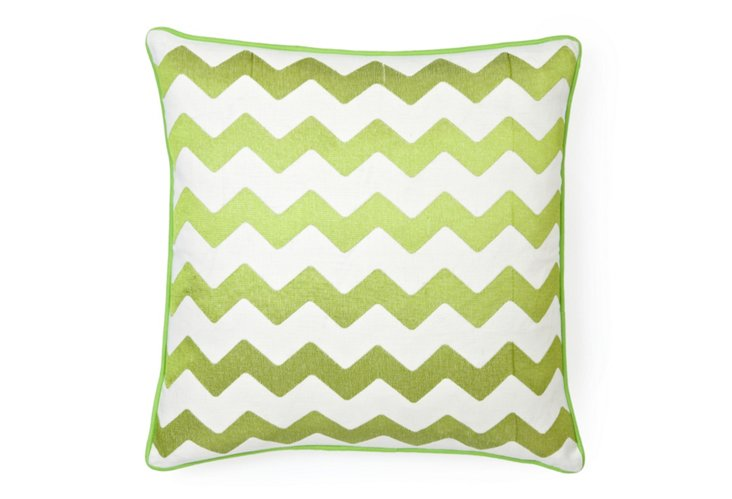 Embroidered Chevron 20x20 Pillow, Lime