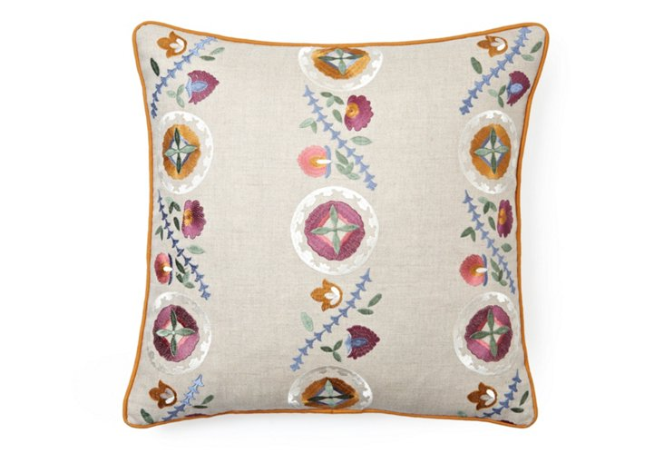Embroidered Autumn 20x20 Pillow, Gray