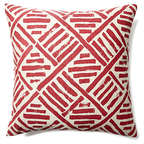 Stroke 20x20 Linen-Blend Pillow, Flame