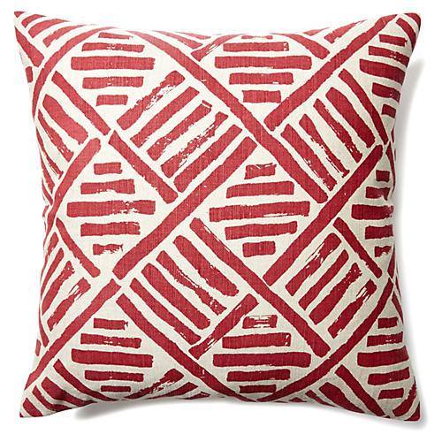 Stroke 20x20 Linen-Blend Pillow, Flame