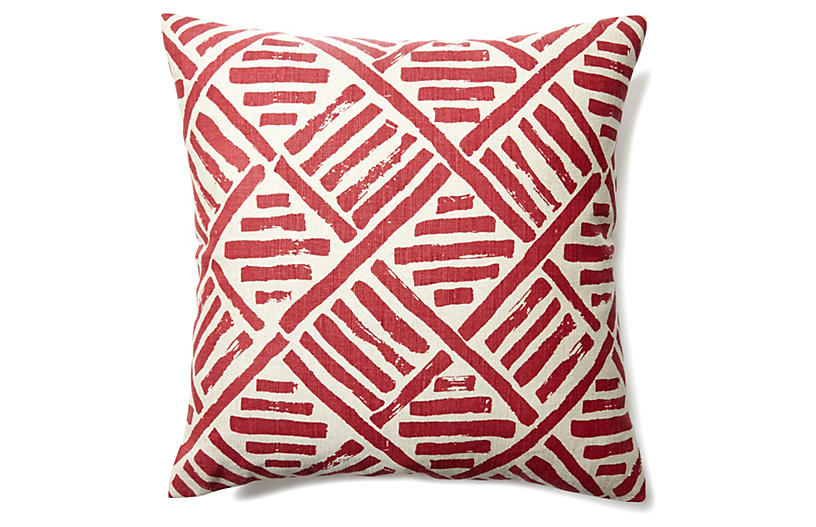 Stroke 20x20 Linen-Blend Pillow - Flame