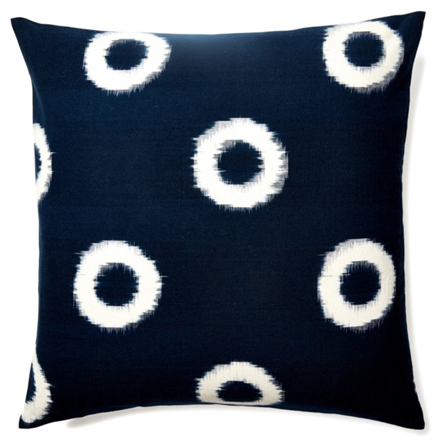 Ikat 20x20 Cotton Pillow, Indigo
