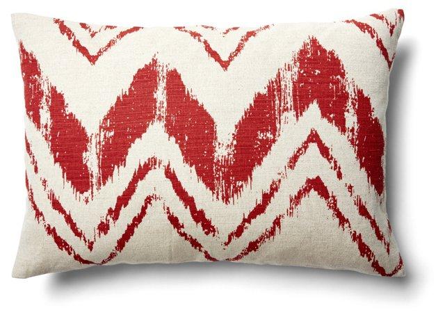 Stroke 14x20 Linen-Blend Pillow, Flame