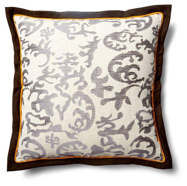 Ikat 20x20 Linen-Blend Pillow, Gray