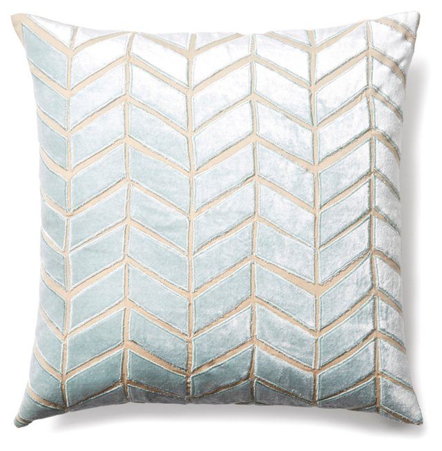 Arrow 20x20 Velvet Pillow, Seafoam