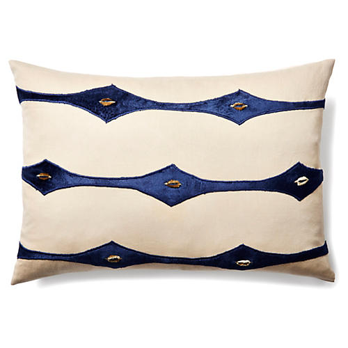 Connect 14x20 Velvet Pillow, Indigo
