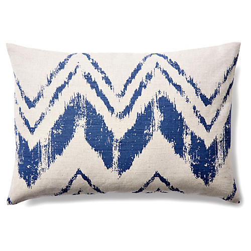 Brushstroke 14x20 Linen Pillow, Indigo/Ivory