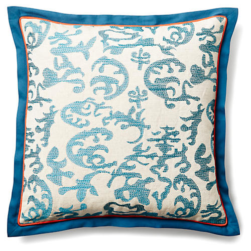 Abstract Ikat 20x20 Pillow, Teal