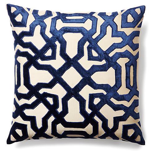 Chase 18x18 Velvet Pillow, Indigo