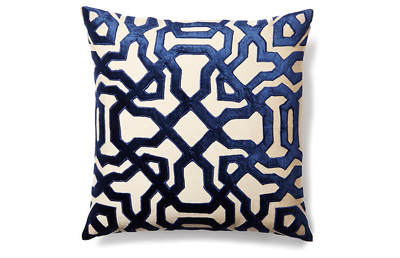 Chase 18x18 Velvet Pillow - Indigo - Filling Spaces