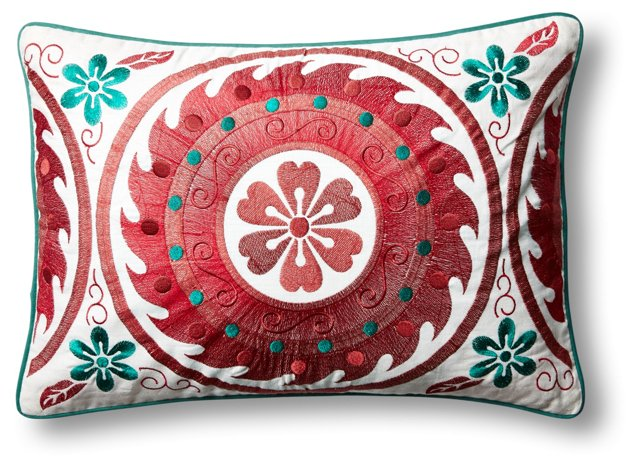 Lotti 14x20 Embroidered Pillow, Red