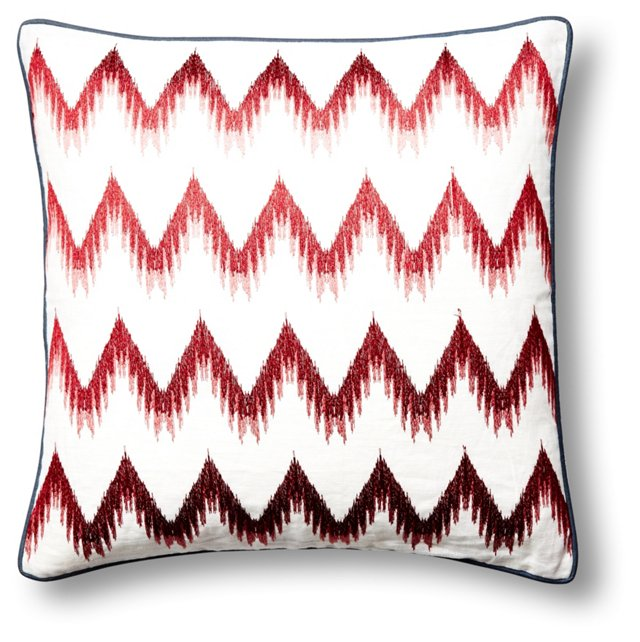 Chevron 20x20 Embroidered Pillow, Red