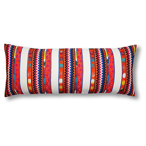 Boho 14x40 Embroidered Pillow, Multi
