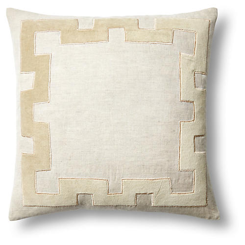 Applique 18x18 Linen Pillow, Natural