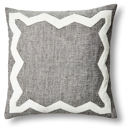Zigzag 18x18 Linen/Velvet Pillow, Gray