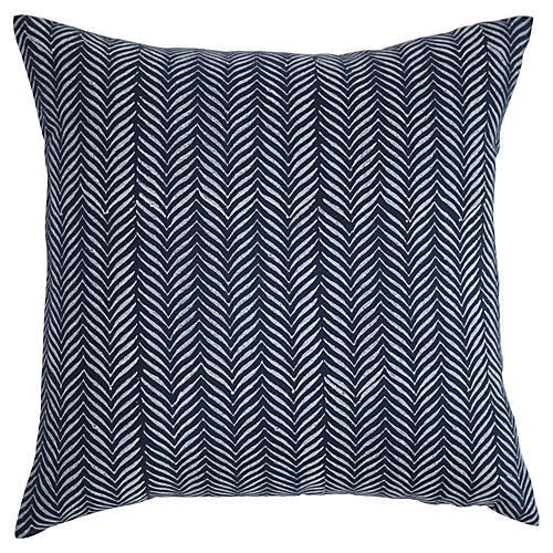 Printed 20x20 Linen Pillow, Navy
