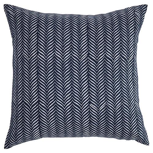 Printed 20x20 Linen Pillow, Navy