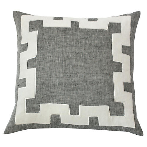 Tammy 20x20 Linen Pillow, Gray