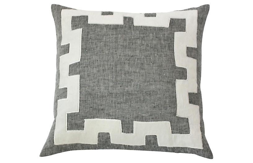 Tammy 20x20 Linen Pillow, Gray
