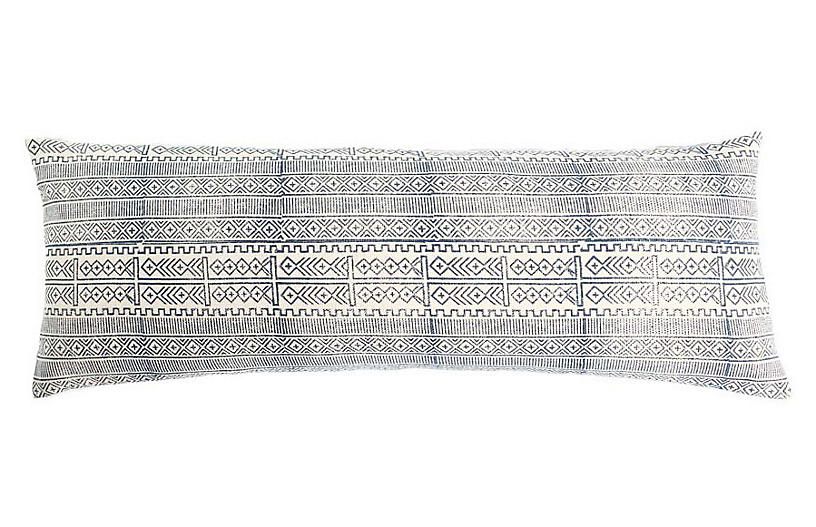 Rimjhim Cotton Pillow, Blue