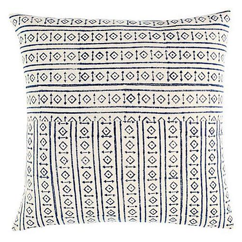 Raga 18x18 Cotton Pillow, Blue