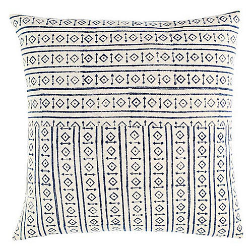 Raga 18x18 Cotton Pillow, Blue