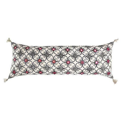 Zali 14x40 Cotton Pillow, White