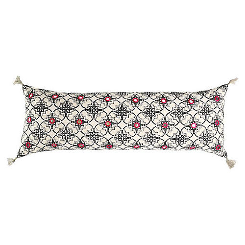 Zali 14x40 Cotton Pillow, White