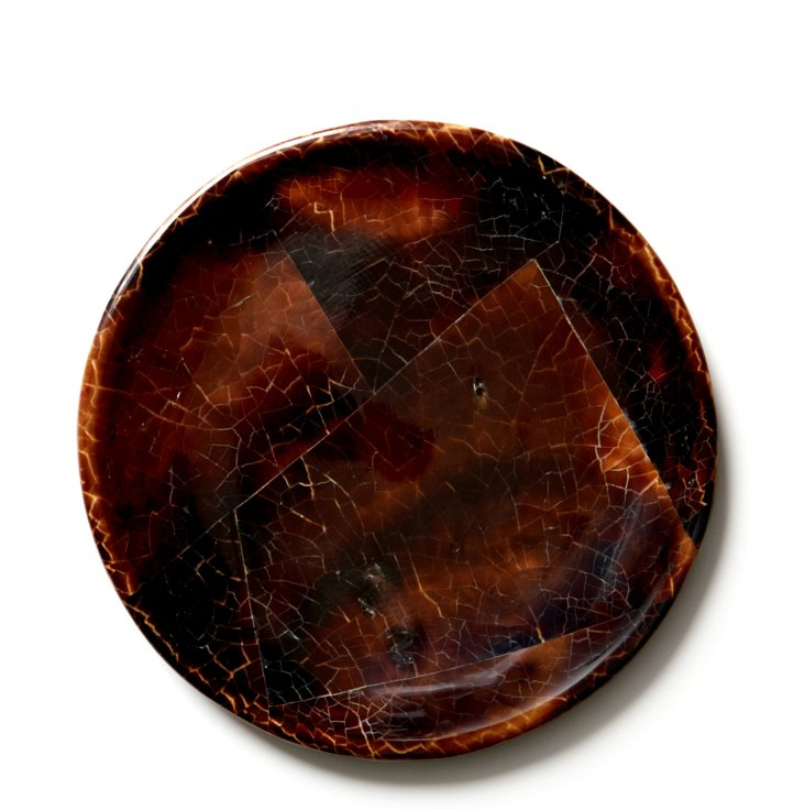"10"" Crackled Penshell Plate, Brown"