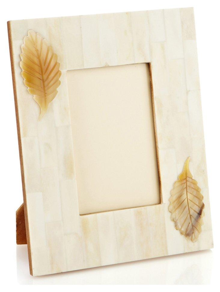 4x6 White Bone Frame w/ Horn Leaf