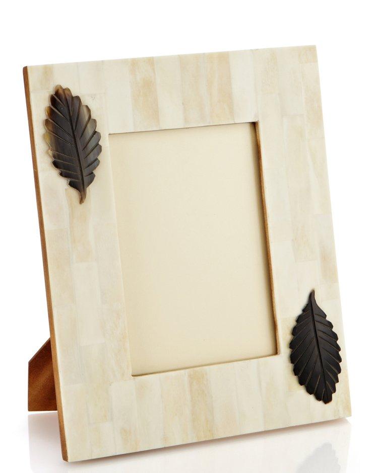 5x7 White Bone Frame w/ Horn Leaf