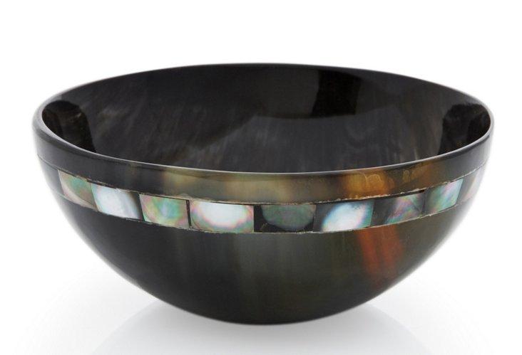 """5"""" Variegated Horn Bowl w/ Black MOP"""