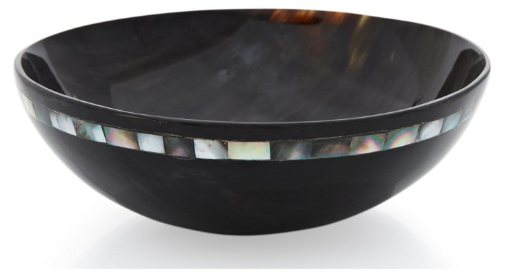 "8"" Variegated Horn Bowl w/ Black MOP"