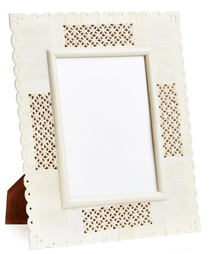 5x7 Carved Bone Frame, White