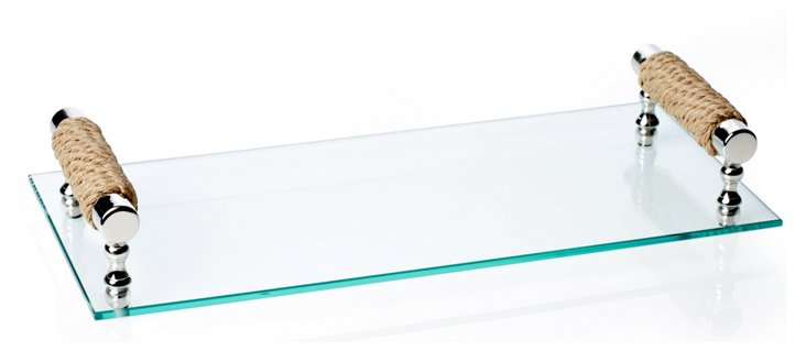 17x8 Glass Cheese Platter w/ Handles