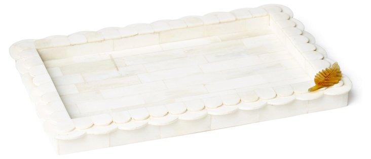 10x7 Scallop Bone Tray w/ Horn Leaf