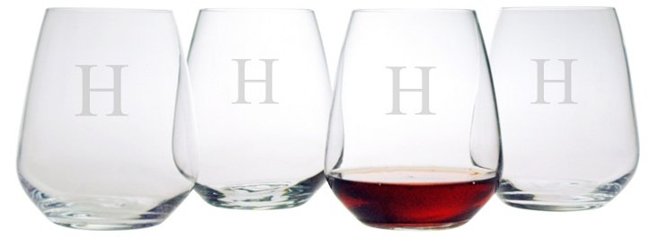 S/4 Monogram Stemless Wineglasses