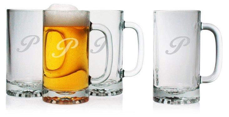 S/4 Pub Beer Mugs, Script Font