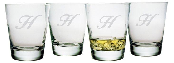 DOF Glass, Script Font, Set Of 4