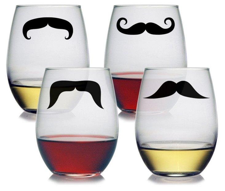 S/4 Asst Moustache Stemless Wineglasses