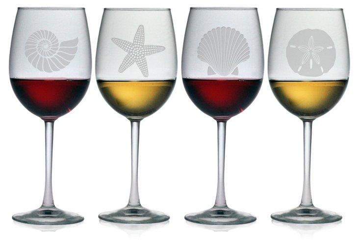 S/4 Seashore Wineglasses