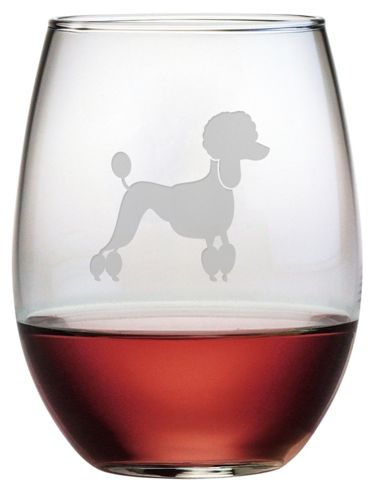 S/4 French Poodle Stemless Wineglasses