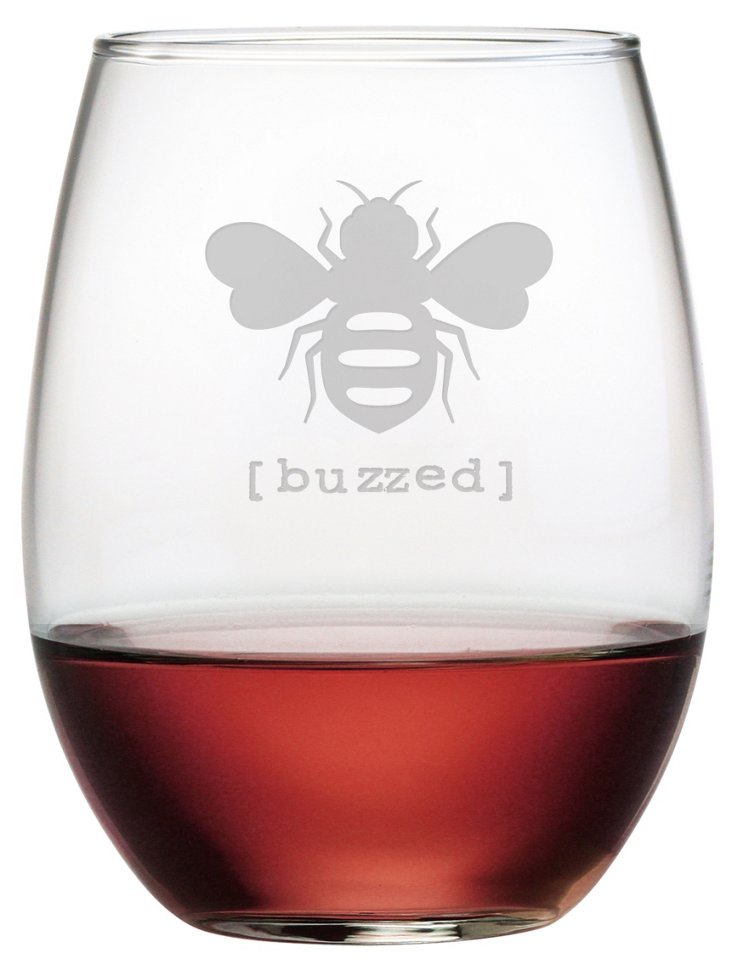 S/4 Buzzed Stemless Wineglasses, 21oz