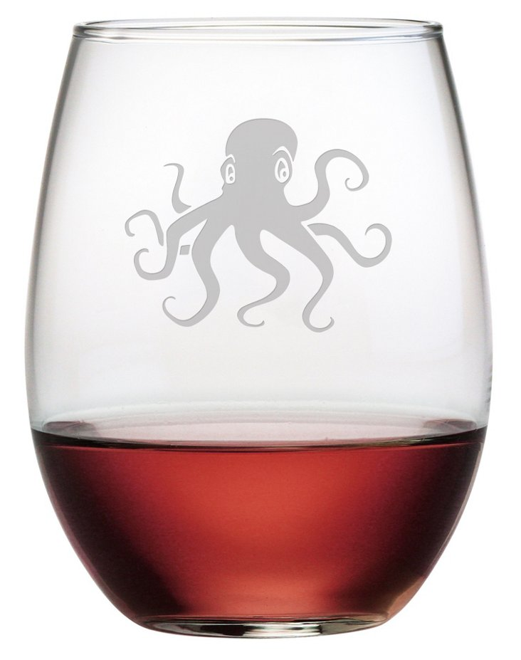 S/4 Octopus Stemless Wineglasses